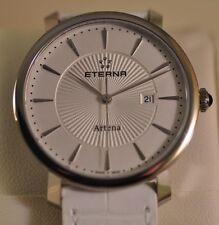 New Womens Eterna 2510.41.11.1252 Artena Swiss Made White Leather Watch