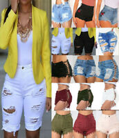 Women High Waisted Jeans Shorts Ripped Destroyed Denim Pants Hot pants US Stock