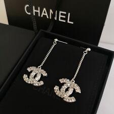 CHANEL NIB Double-sided Square Crystal CC LOGO 5cm Pendant Stud Earrings