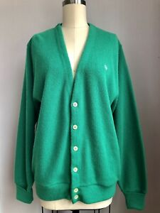 Vintage Mens Christmas Green Christian Dior Cardigan Mr. Rogers Sweater Large