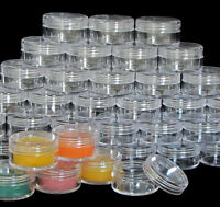 25 Lip Balm Containers Empty Plastic Cosmetic 10 Gram Pot Jars Clear Lids #5067
