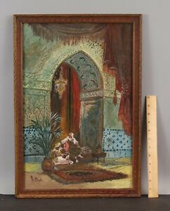Antique ALBERT OPERTI Orientalist Architectural Islamic Arch Interior Painting
