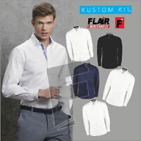 Kustom Kit Men's Contrast Premium Oxford Button Down Collar Long Sleeve Shirt