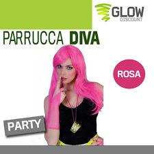 PARRUCCA DIVA ROSA anni 50 60 grease hippy parrucche notte rosa carnevale 33624
