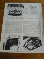 JAGUAR 2.4 SEDAN ROAD TEST 'ROAD & TRACK' REPRINT USA 'BROCHURE'/SHEET AUG. 1956