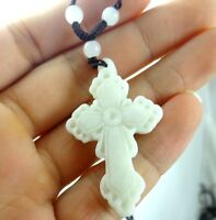 Beautiful 100% Chinese jade hand-carved the statue of cross PENDANT