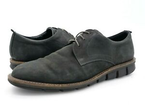 Ecco Mens 12.5 Black Leather Lace Up Round Toe Oxford Derby Dress Shoes EUR 46