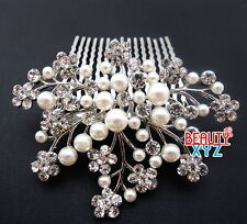 New Fashion beautiful elegant wedding Maple bridal hair comb pearl and crystal
