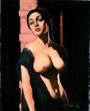 Nude Playboy American Woman Oil Painting on Black Velvet 16x20
