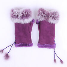 Women Lady Rabbit Fur Imitation leather Wrist Fingerless Gloves Warm Winter