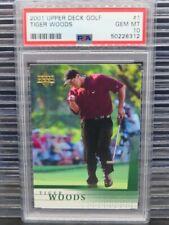 2001 Upper Deck Golf Tiger Woods Rookie Card RC #1 PSA 10 GEM MINT (12) Y453