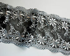 **** WIDE -  Embroidered Lace Black & White - 15cm****