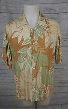 Mens CUBAVERA Tan & Green Hawaiian Leaf Linen Rayon Shirt ~ XL
