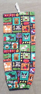 "Handmade Cloth Plastic Bag Holder ""Variety Dog Breads"" Storage 16"" long"