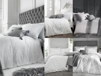 Modern Caprice Metallic Sequin Trim Plain White / Grey Bedding Duvet Cover Set