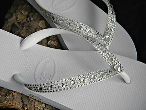 Havaianas Wedding Flip Flops Full Moon w/ Swarovski Clear Crystal Bling Shoes
