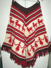 Handknitted Vintage Thick Knit Wool Poncho Fringed Native Design Adult