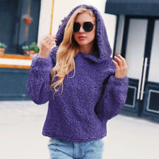 Women Faux Fur Hoodie Fleece Jumper Coat Jacket Hairy Warm Sweater Hoody Outwear