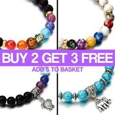 7 Chakra Bracelet Lava Healing Stones Beaded Gemstones Beads Elastic Yoga Stone