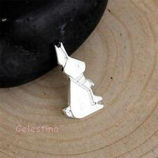 4 Rabbit Charms - Silver Plated Bunny Pendants Origami Charms 15mm - Back Loop