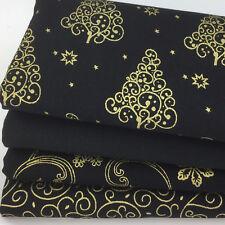 Christmas Black & Gold  4 piece 100% cotton christmas Fat quarter bundle (no 95)