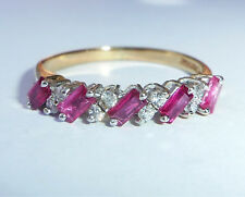 9ct Gold Baguette Ruby & Cz Half Eternity Ring, Size N