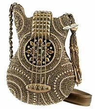 MARY FRANCES Guitar On Tour Bronze Brown Bag Purse Handbag Beaded Tassel NEW