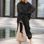 2pcs Womens High Neck Pullover Sweatshirt Tops Loose Wide Legs Harem Pants Suits
