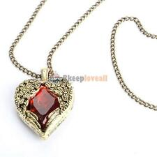 Luxury Retro Vintage Heart Rhinestone Pendant Necklace Hot Ruby Red -- Best Gift
