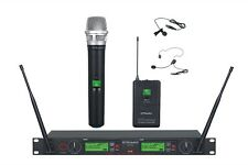 GTD Audio 2x100 Ch UHF Headset Lavalier Wireless Microphone Mic System 733HL