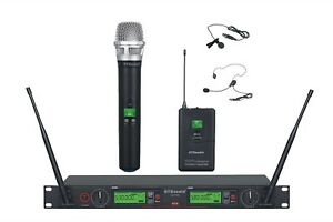 GTD Audio 2x800 Ch UHF Headset Lavaliere Wireless Microphone Mic System 733HL