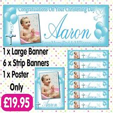 PERSONALISED PHOTO CHRISTENING PARTY BANNER PACKS ANY AGE NAME EVENT A007