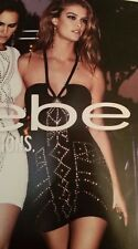 bebe studs embellishment CLUBBING STRETCHY FULLY LINED DRESS PINK XS NWT $139