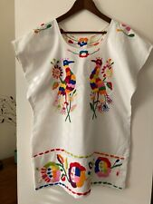 Vintage 1970s Mexican Embroidered Dress, Birds, Floral, Boho