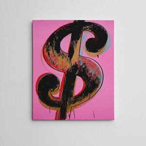 """16X20"""" Gallery Art Canvas: Andy Warhol """"Dollar Sign"""" Abstract expressionism Art"""