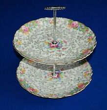 More details for old foley james kent balmoral floral chintz two tier cake stand,