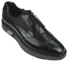 NEW PRADA CURRENT BLACK  LEATHER BROGUE CREEPER WING TIP OXFORD SHOES 8/ US 9