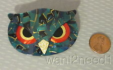 LEA STEIN PARIS OWL FACE PIN turquoise mosaic with red & gold