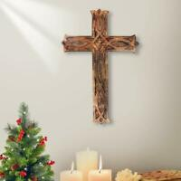 Hand Carved Antique Design Religious Altar Cross Long Wall Hanging Home Room