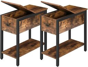 HOOBRO Set of 2 Narrow End Tables Flip Top Side Table Nightstands Wood Table