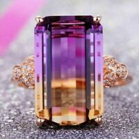 Sparkling Baguette Purple Tourmaline Ring Jewelry 14K Gold Plated Nickel Free