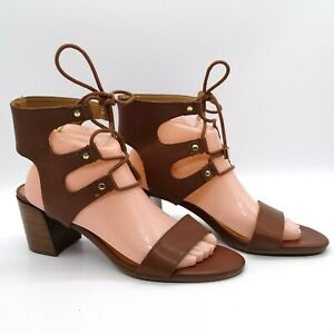 Women's Sandal Block Heel Tommy Hilfiger Brown Gladiator Lace Up 9 1/2 9.5M