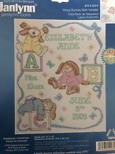 JANLYNN-#054-0064-SLEEPY BUNNIES BIRTH SAMPLER CROSS STITCH KIT