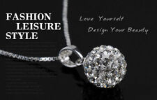 Necklace Pendant Fashion Women's 925Sterling Silver Chain Crystal Rhinestone