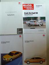 Presseinfo Audi Sicherheit 80/100, 1991, 2 Hefte 64+70 Seiten + Sonderdruck ams