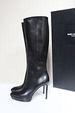 New sz 7 / 37 Saint Laurent Janis Platform Black Leather Tall Boots Shoe YSL