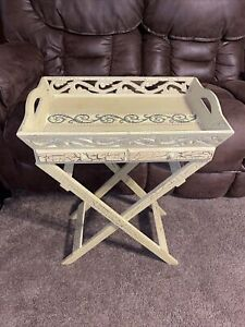 Vintage Wooden Ornate Folding Tray Table Butlers Table Drinks Food + drawers