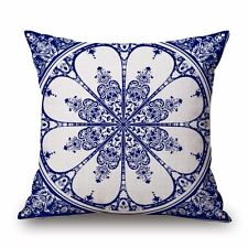 Blue And White Pillow Case Geometric Geometry Print Cotton Linen Cushion Cover