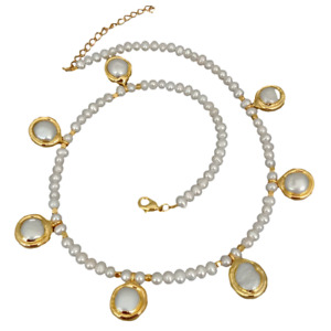 """Freshwater Cultured White Pearl Necklace White Coin Pearl Charm 18.5"""""""