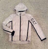 EMPORIO ARMANI EA7 1390$ white black hooded puffer parka down short jacket S